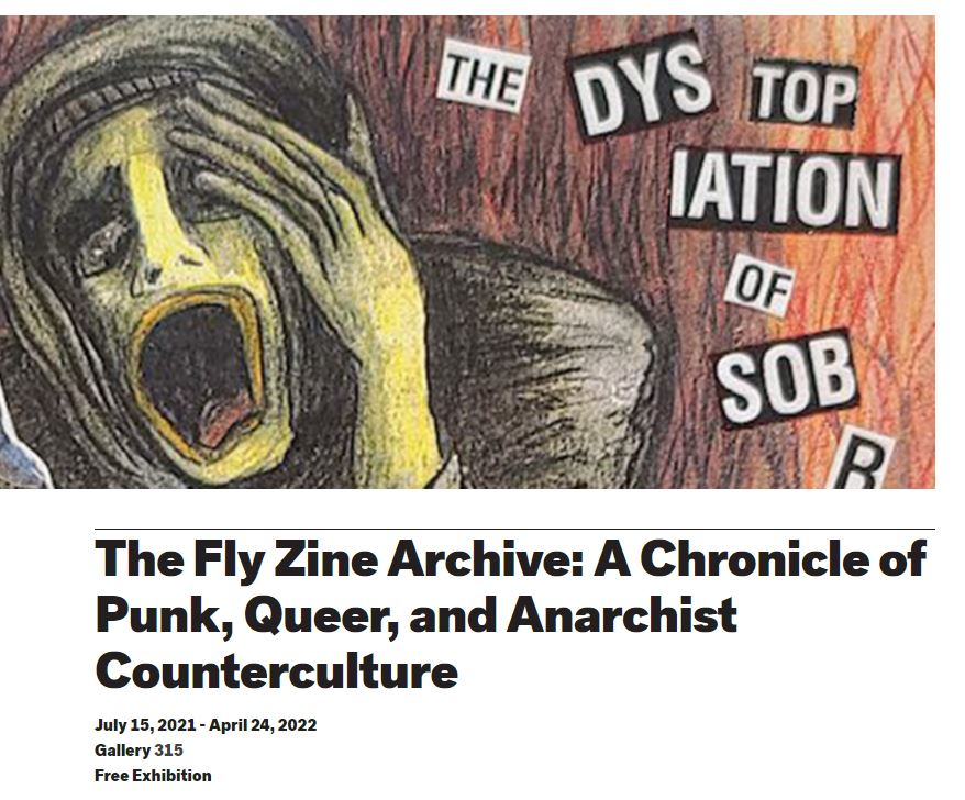 screenshot of exhibit webpage with collage artwork and text with details about the Fly Zine Archive exhibit