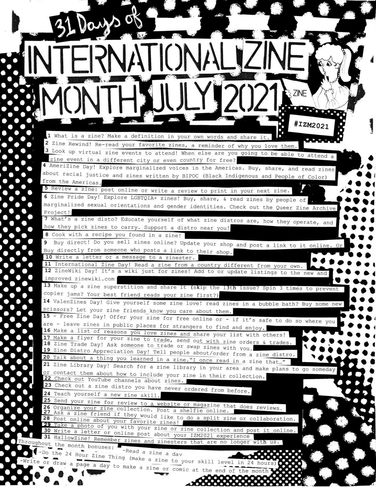 cut-and-paste style flyer featuring 31 days of things to do to celebrate zines in July 2021