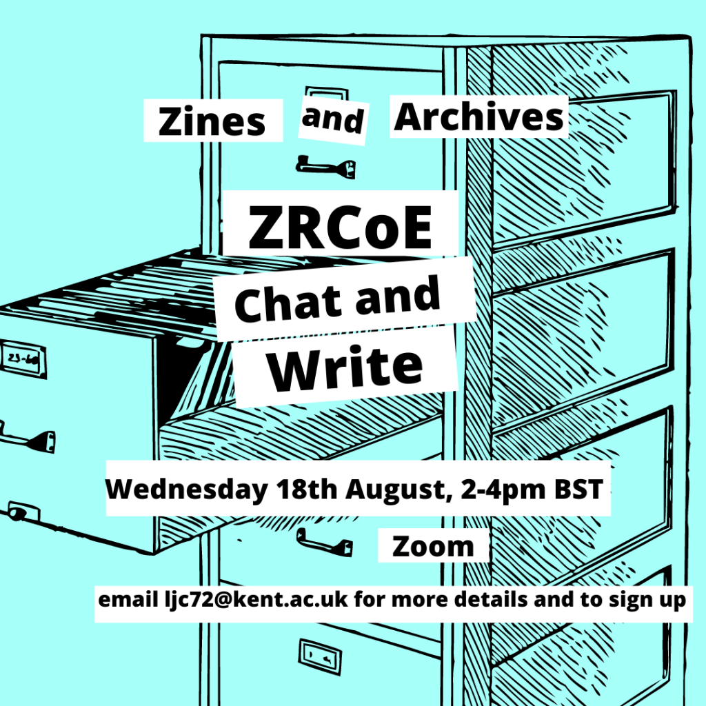 """flyer with info about the Zine Researcher's Code of Ethics """"Chat and write"""" session on August 18"""